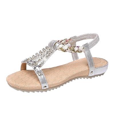 Vectry Sandalen Damen Absatz Plateau Flach Keilabsatz Schuhe Sommer Damenschuhe Gladiator Leder - Style Fashion...