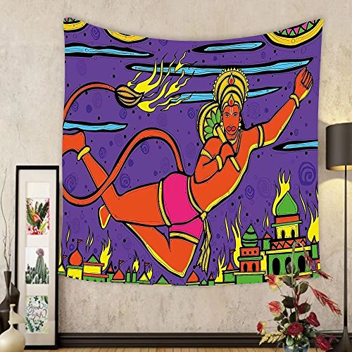 Gzhihine Custom tapestry Psychedelic Tapestry Traditional Indian Ramayan Epic Legend Divine God Culture Sacred Holy Avatar Design for Bedroom Living Room Dorm Multi by Gzhihine