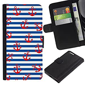 For Apple (5.5 inches!!!) iPhone 6+ Plus / 6S+ Plus Case , White Red Lines Sailor Anchor Sea - la tarjeta de Crédito Slots PU Funda de cuero Monedero caso cubierta de piel
