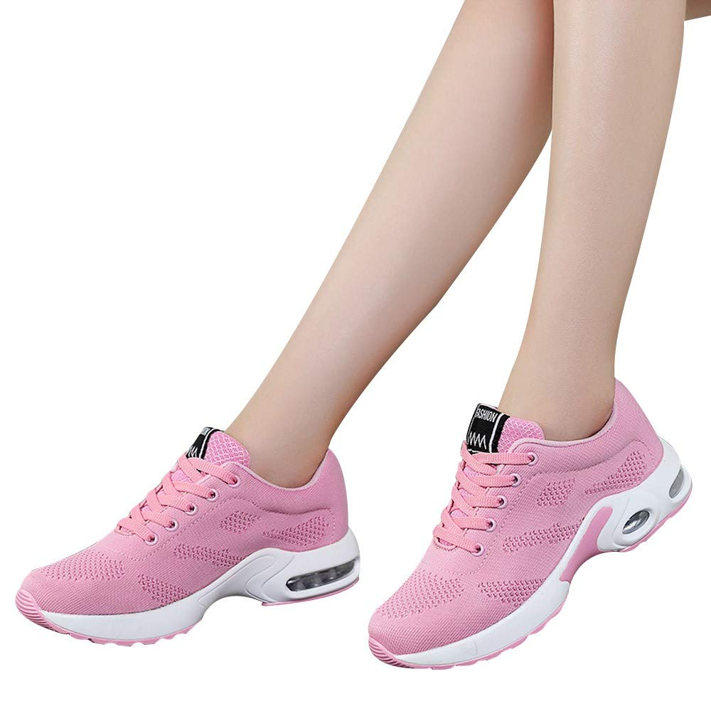 Farjing Breathable Shoe Flying Woven Sports Shoes Casual Running Shoes Student Mesh Shoe(US:7.5,Pink)