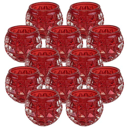 Just Artifacts (Set of 12 Round Retro Studded Glass Candle Votive Holder 2.5
