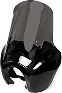 Krator Black & Smoke Tall Fairing Windshield Club Style Kit Compatible with Harley-Davidson Dyna, Super Glide T-Sport FXDXT, FXR