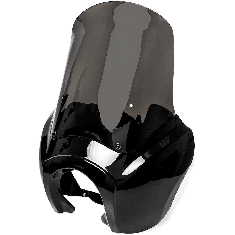 Krator Black & Smoke Tall Fairing Windshield Club Style Kit for Harley-Davidson Dyna, Super Glide T-Sport FXDXT, FXR