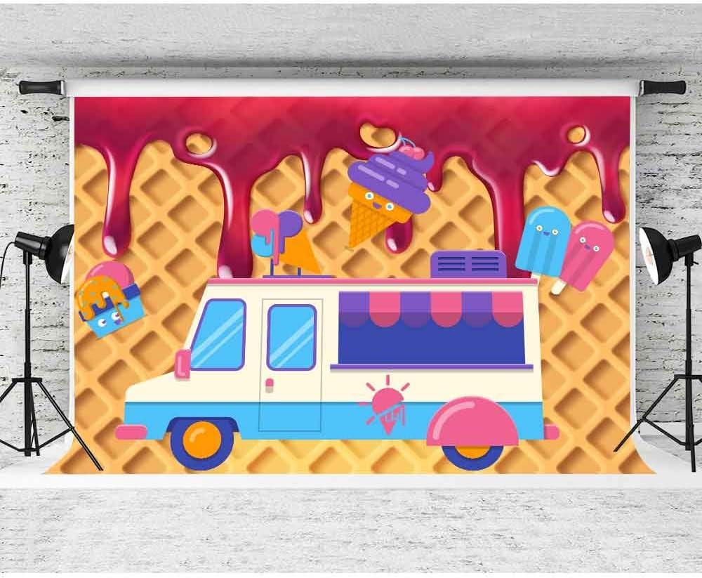 FHZON 7x5ft Birthday Backdrop Cartoon Car Photography Background for Children Kids Ice Cream Cream Cake Photo Studio Props Banner BJLHFH183