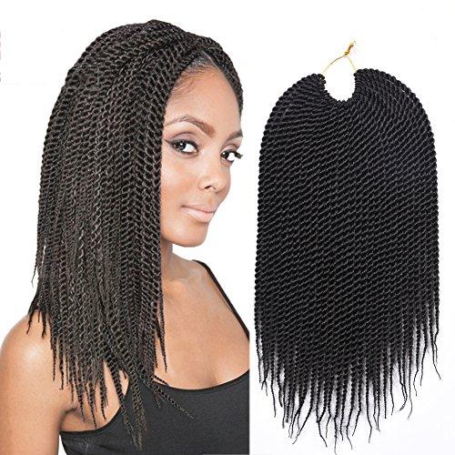 14inch 30strands/pack Synthetic Hair Extensions Crochet Braids 7Packs/lot High Tempreture Fiber Senegalese Twist 2X Crochet Braid Hair for Black Women (1B)