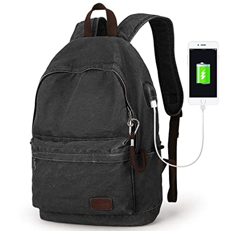 3b069798cc95 Amazon.com  Muzee Canvas Backpack with USB Charging Port for Men ...