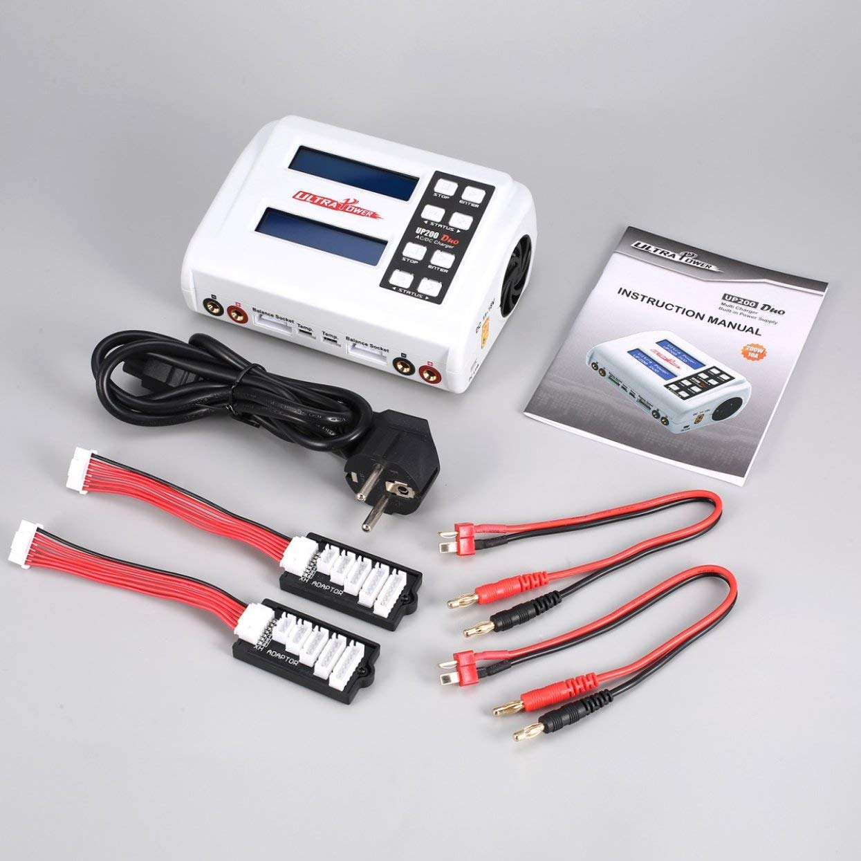 Tellaboull for UP200 Duo 200W 10A AC/DC-Batterieladegerät/Downloader für LiPo Life Lilon LiHVNiMh RC-Batterie