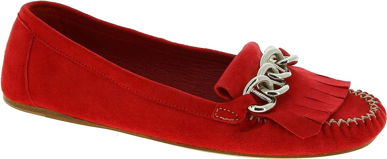 Prada CAMOSCIO Zapatos Mocasines con Flecos y Cadena para Mujeres en Gamuza roja - Número de Modelo: 1D446F 008 F0011