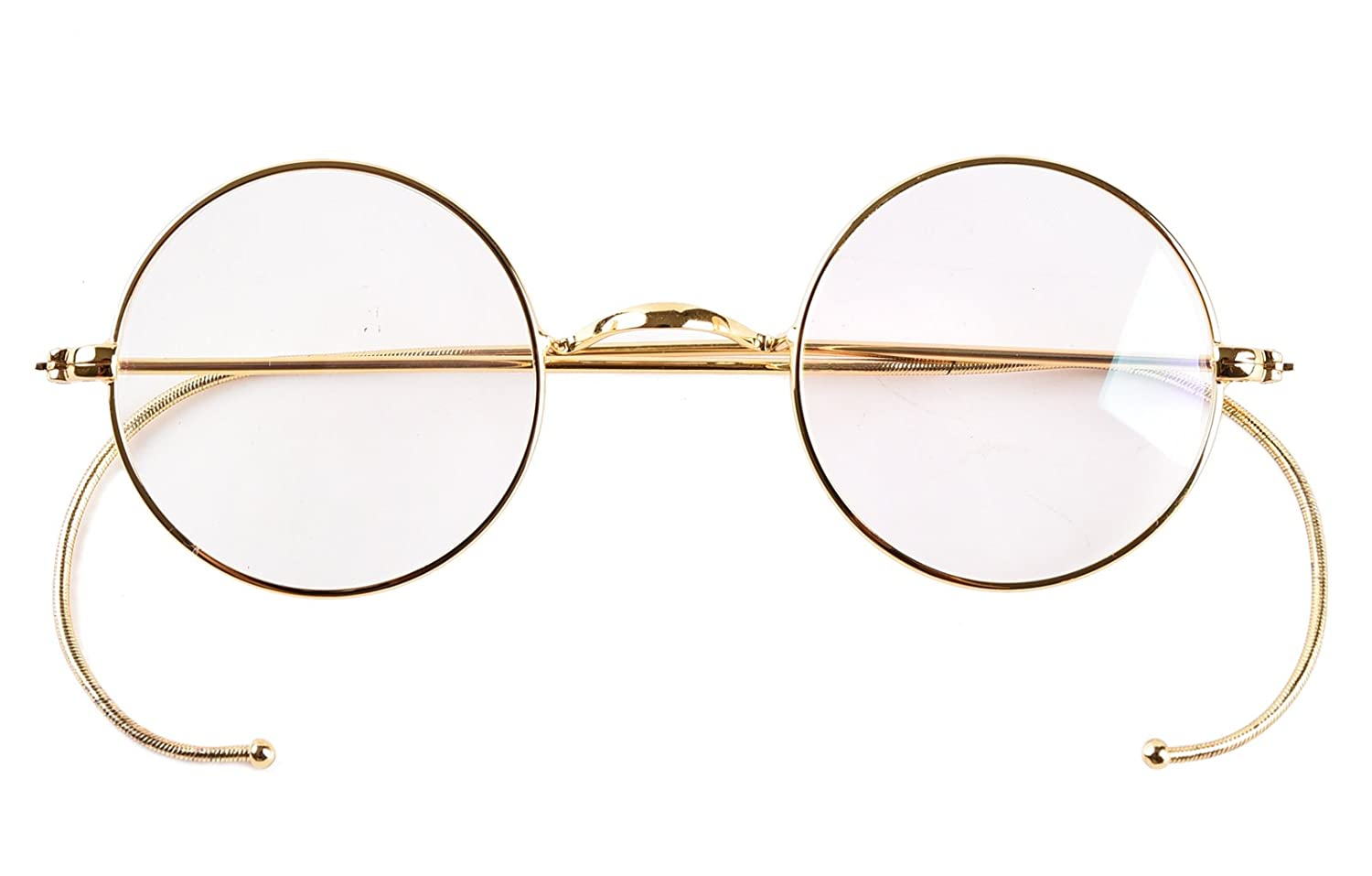 4cd599f131e5 Amazon.com: Agstum Retro Small Round Optical Rare Wire Rim Eyeglasses Frame  (Gold, 39mm): Clothing