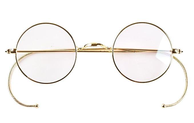 4be54fc30cd Agstum Retro Small Round Optical Rare Wire Rim Eyeglasses Frame 39mm (Gold