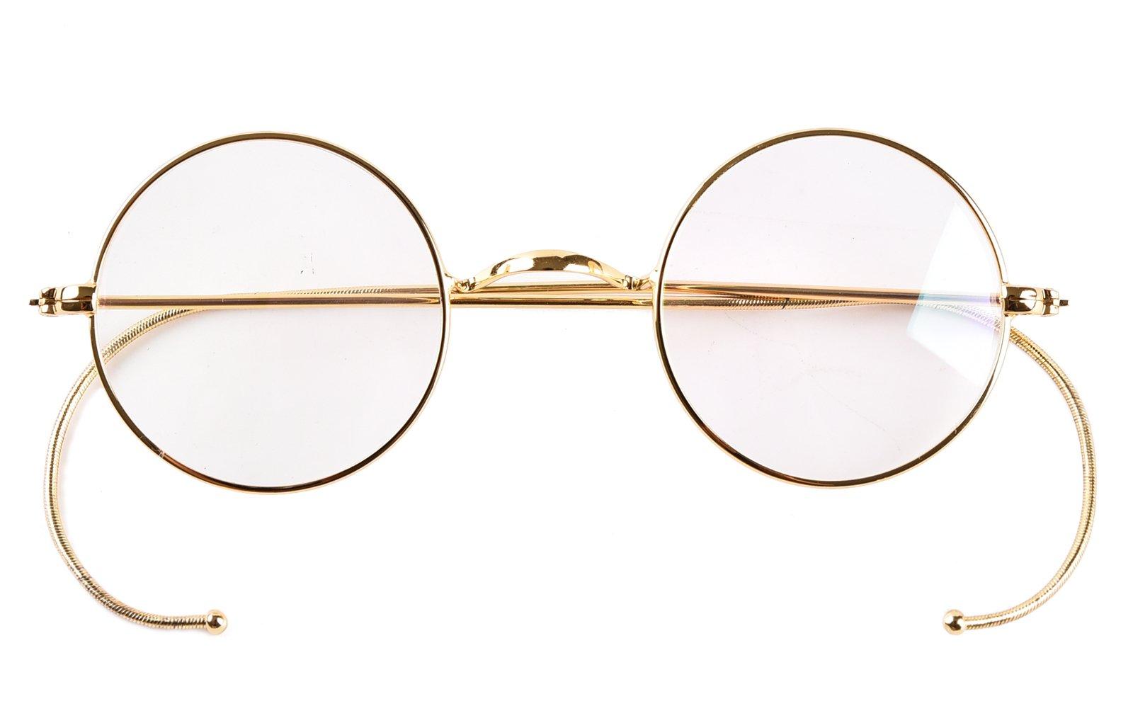 Agstum Retro Small Round Optical Rare Wire Rim Eyeglasses Frame (Gold, 39mm)