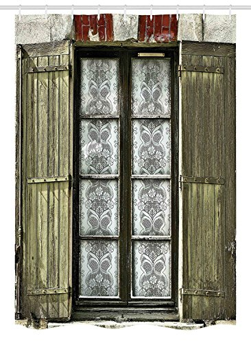 ROBIN GREEN Country Stall Shower Curtain, European French Window with Antique Style Open Shutters Vintage Style Home Decor, Fabric Bathroom Decor Set with Hooks, 54 W x 78 L Inches, ()