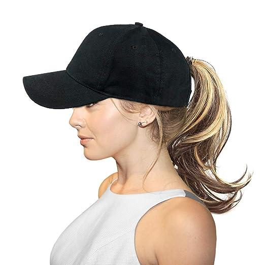 17616cc6c FADA Messy High Bun Ponytail Baseball Cap Cotton Ponycap Trucker Hat for  Women
