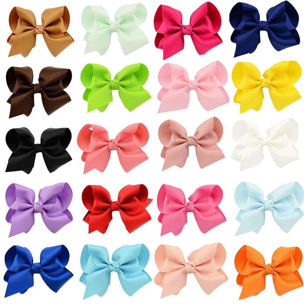 4.5 Inch Baby Girls Toddler Hair Bows With Alligator Clip Grosgrain Barrettes Bundles Accessories for Infant 20Colors//40Pcs