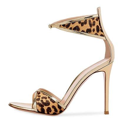 fb25658b9de69 Amazon.com: FCXBQ Leopard Sandals, Open Toe Sandals Stiletto Ankle ...