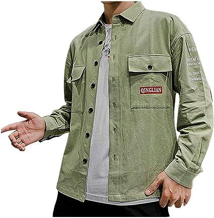 ZODOF camisa hombre camisas sport Nuevo Casual Comodo Moda Bolsillo Ropa de trabajo Carta Impresión Solapa Manga larga Blouse Moda para hombre camisa guapa camisa hombre(L,Verde): Amazon.es: Instrumentos musicales