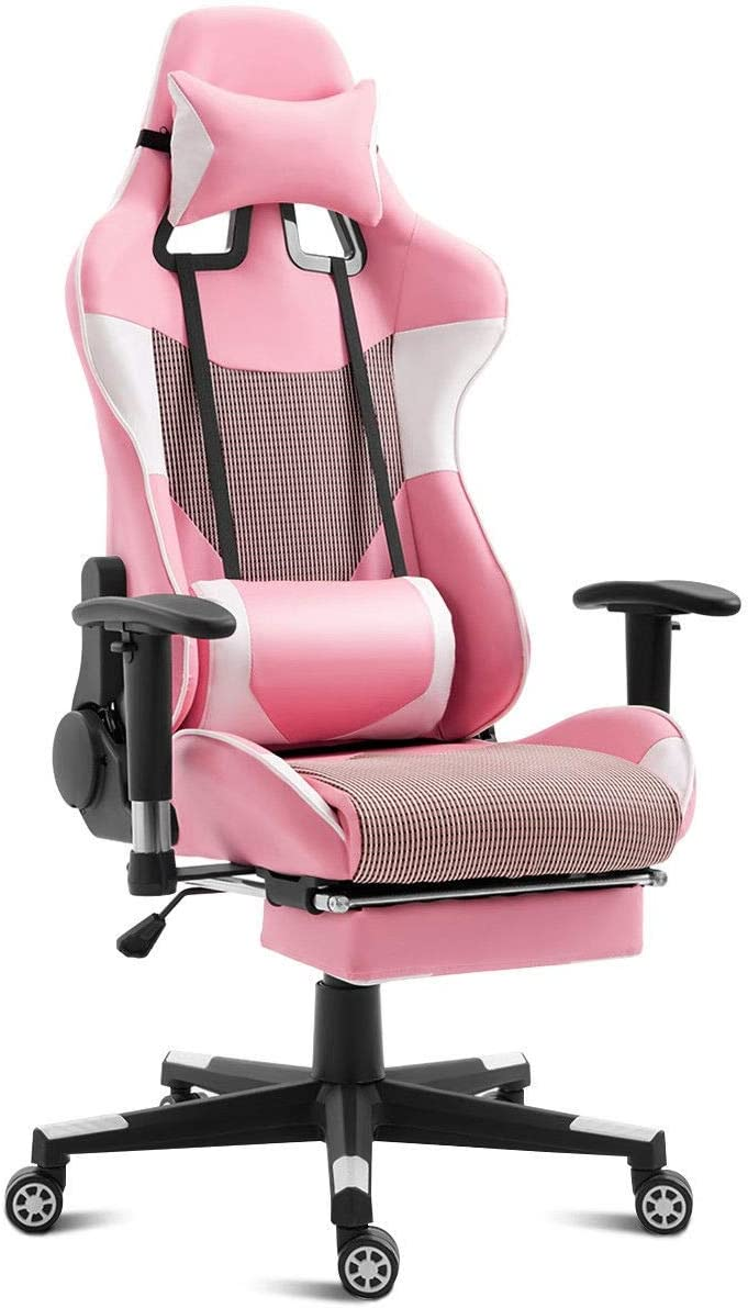 High Back Gaming Chair with Lumbar Support and Footrest Pink