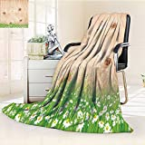 Digital Printing Blanket Antique Old Planks American Style Western Rustic Wooden small grass and daisies Summer Quilt Comforter