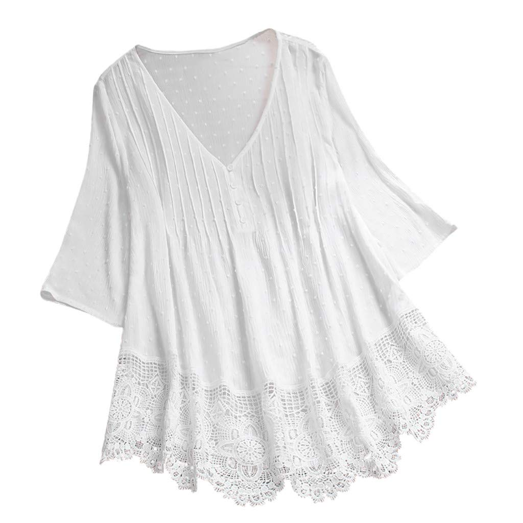 Sttech1 Plus Size Shirt for Women, Ladies 3/4 Sleeve O-Neck Lace Patchwork Top Blouse White