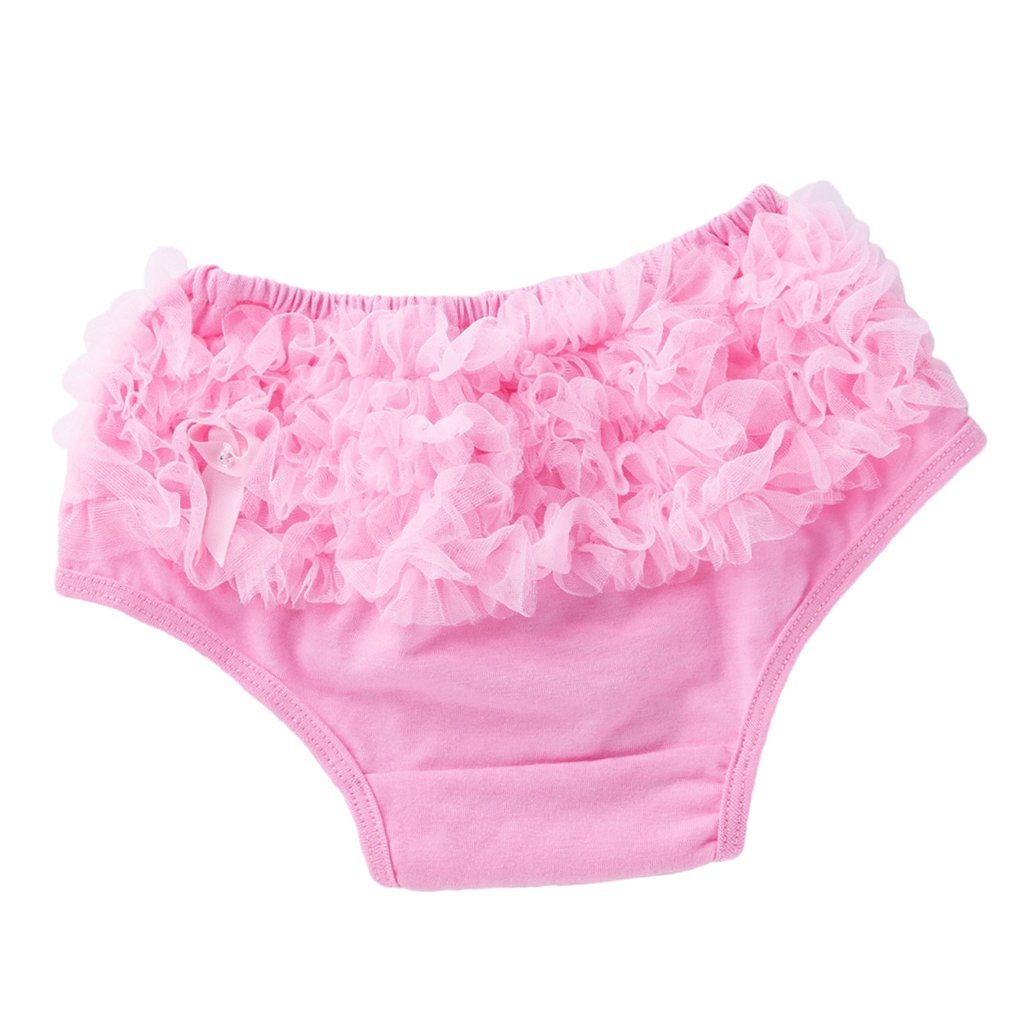 Fityle Baby Girl Kids Ruffle Lace Underwear Shorts Bloomers Diaper Nappy Cover 0-24M - Pink, L for 6-12 Months