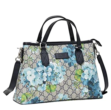91f8678fc597f0 Gucci Bloom Beige/Blue GG Coated Canvas Zip Top Handle Tote With box 429019  8499