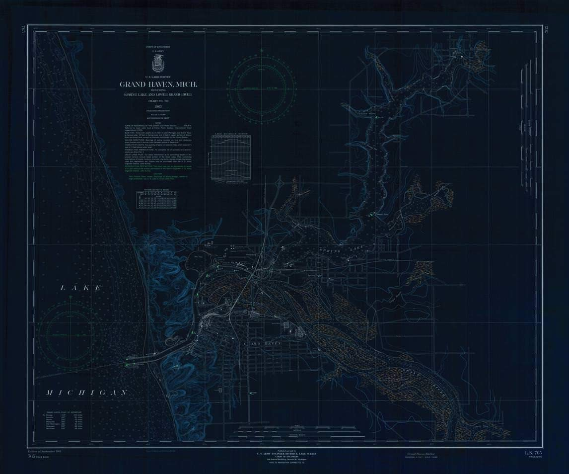 Vintography Blueprint Style 18 x 24 Reprint of 1963 Nautical Chart ST. Lawrence River, ST. Lawrence Seaway, Union Park, ONT, to Ironsides Island, N.Y, by U.S. Lake Survey NY