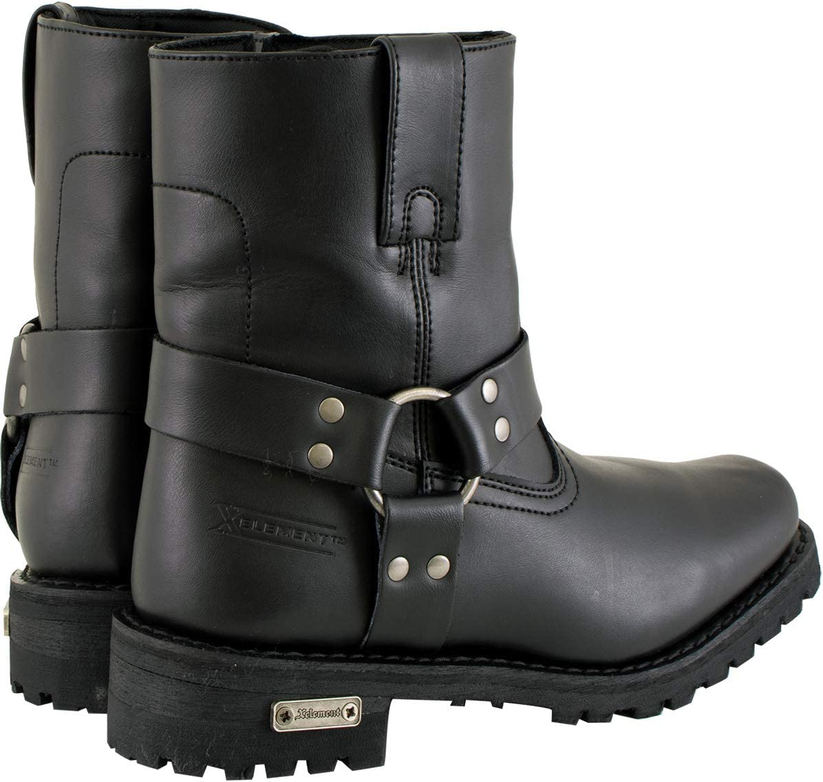 Xelement 2502 Shorty Womens Black Zipper Harness Motorcycle Leather Boots 8