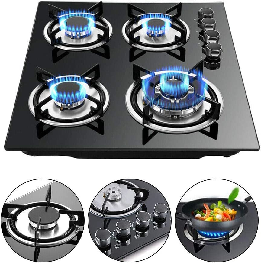 23 Gas Stove Cooktop 4 Burner Built-in Stove Tempered Glass LPG//NG Gas Cooktop Home Kitchen Hob Cooker Thermocouple Protection