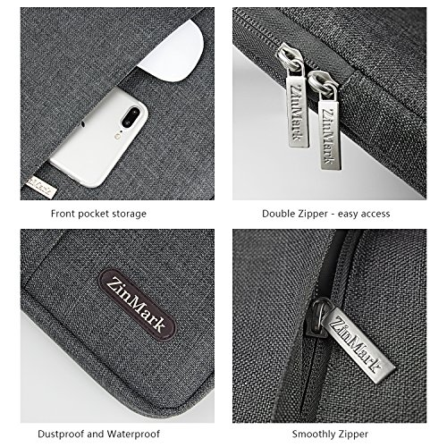 """ZinMark Laptop Sleeve Case 11.6-12.9 Inch, Compatible MacBook Air 11.6-Inch, New MacBook Pro 13 inch A1706/A1708, iPad Pro 12.9"""", Spill-Resistant Protective Sleeve(12.8 x 9.25 in) Gray"""