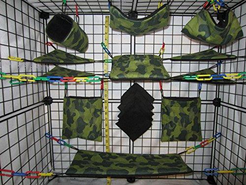 15 Piece Sugar Glider Cage Set 'Dark Green Camo' - Glider Sugar Fleece Blanket