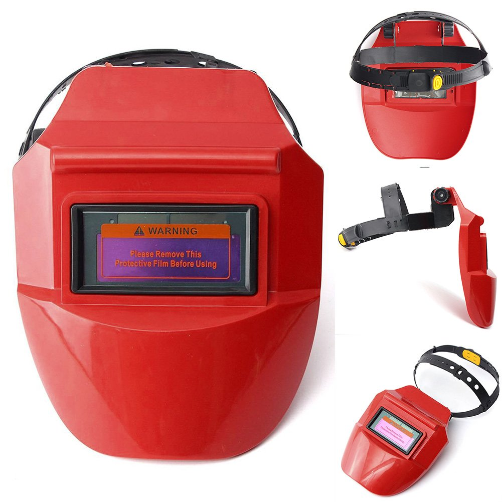 Má scara de soldadura profesional para casco Arc Tig Mig (rojo) EMVANV