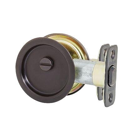 Great Kwikset 334 10B Round Hall/Closet Pocket Door Lock,2.48 Inch,Oil