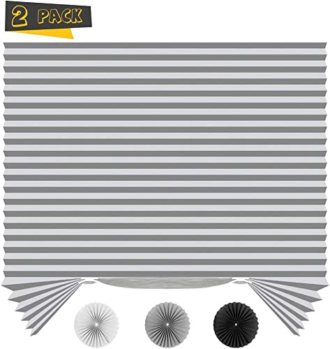 SEEYE Light Filtering Temporary Blinds Cordless Shades Fabric Pleated Fabric Shade Easy to Cut and Install, 36 W x 72 L – 2 Pack, Grey with 4 Clips