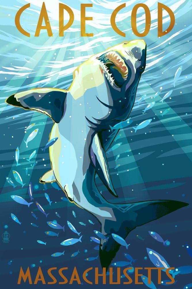 Cape Cod, Massachusetts - Great White Shark (12x18 Art Print, Wall Decor Travel Poster)