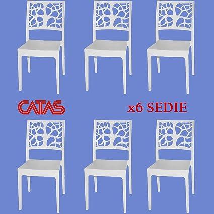 6 Witte Design Stoelen.Stoel Wit Design Binnen Buiten Polypropyleen Teti Set 6 Stoelen