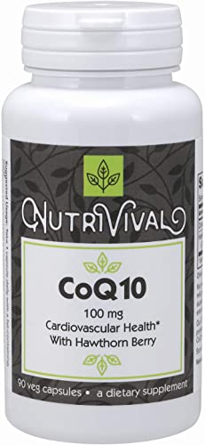 Nutrivival Pharmaceutical Grade CoQ10 100mg with Hawthorn Berry That Aids in Cellular Energy Production* 90 Vegetarian Capsules