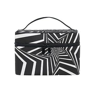 a7060ba36215 Amazon.com : SAVSV Black And White Geometric Figures Travel Makeup ...