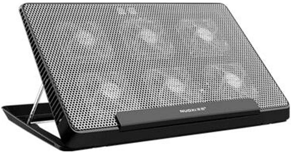 HTBHSD Enfriador portátil de 15,6 pulgadas ordenador radiador Junta soporte base del cojín Aluminio del mudo del panel de aleación de soporte metálico Seis ventilador de refrigeración Negro Fuerte y f