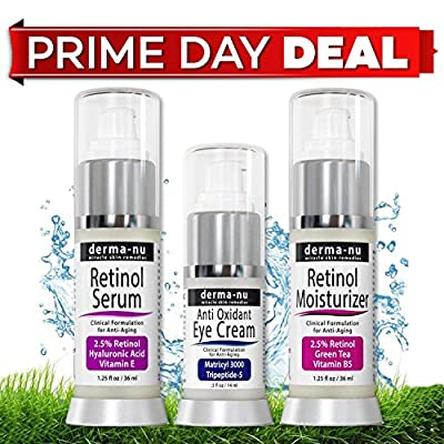 Retinol Serum 2.5% with Hyaluronic Acid Serum & Vitamin E By Derma-nu - Best Anti Aging Serum for Fine Lines & Wrinkles – Clinically Proven Skin Treatment for the Face