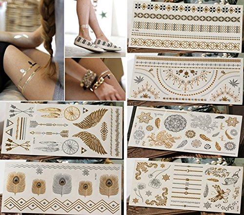 Tattoos Temporary Nail (BlueSpace Temporary Tattoos for Women Metallic Boho Henna Body Tattoo Stickers 6 Large Sheets Gold Silver Glitter Flash Fake Waterproof Tattoos for Women Girls)