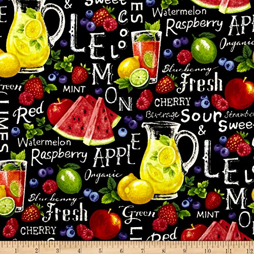 Fabri-Quilt 0459172 Farmer John Garden Assorted Fruits On Black Fabric by the Yard