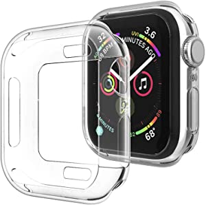 Compatible for Apple Watch Case Series 5 Series 4 44mm, New iWatch TPU Clear Protective Cover Bumper Compatible with Apple Watch Series 5 Series 4 (44mm-Clear)