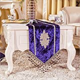 GL&G European high - end luxury inlay diamond tassel hanging Sui Table Runner bed towel wedding party decorations,Blue violet,32180cm