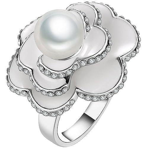 367822cbb56c lwlh joyería para mujer 18 K chapado en oro blanco baile Circonita CZ flor  perla simulada Shell anillo banda  Amazon.es  Joyería