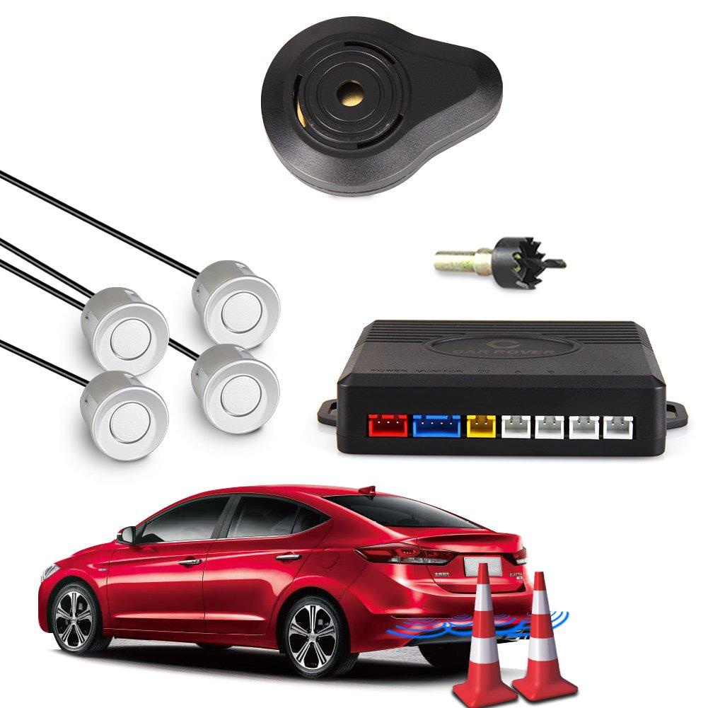 CAR ROVER® Sensor Aparcamiento Kit 4 Sensor Marcha Atras con Zumbador Bibi Alarma de Sonido (Gris) Startway Autopart