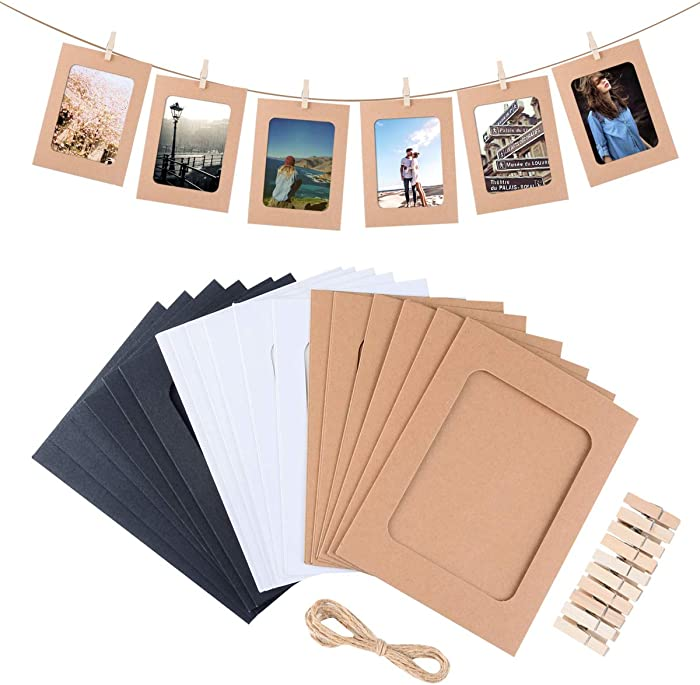 LEJHOME Paper Picture Frame, 30pcs Kraft Photo Frames for 4x6in Photo, Photo Hanging Display Frames for Wall Decoration DIY with 30 Clips and 3 Ropes