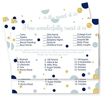 Amazon Navy And Gold Baby Shower Candy Bar Game Card Set Of 25