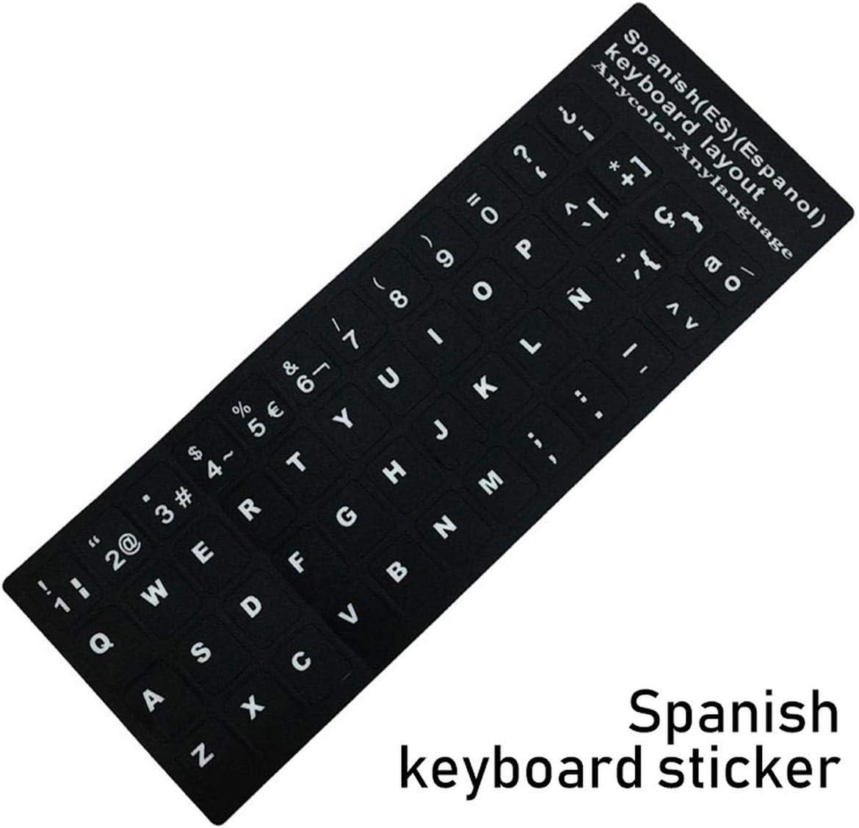 Keyboard Stickers Laptop Spanish//English//Russian//French//Deutsch//Arabic//Korean//Japanese//Hebrew//Thai Letters Keyboard Layout Cover-Korean Black