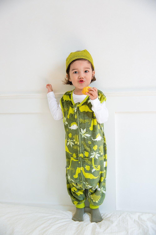 Vaenait baby 1-7Y Super Soft Microfiber Fleece Lined Kids Boys Sleep and Play Blanket Sleeper Pyjama Dino Park Green