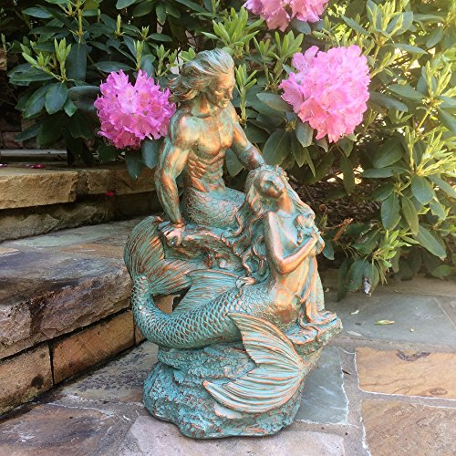 18 in. Sexy Mermaid and Triton Merman Male Mermaid on Nautical Rock Together Bronze Patina Finish Beach and Pool Statue